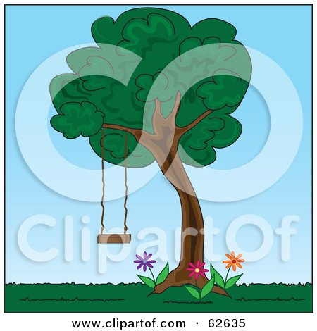 Royalty-Free (RF) Clipart Illustration of a Tree Swing Hanging In A Back Yard by Pams Clipart
