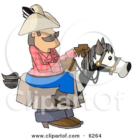 Cowboy Riding A Stick Horse Clipart Picture