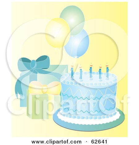 Royalty-Free (RF) Clipart Illustration of a Pretty Blue Birthday Cake With Gifts And Balloons On Yellow by Pams Clipart