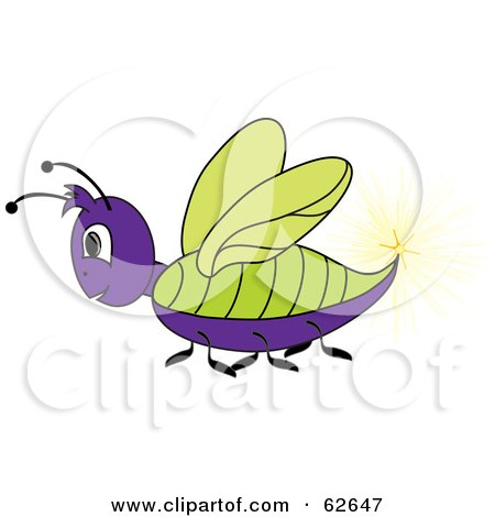 Royalty-Free (RF) Clipart Illustration of a Purple And Green Lightning Bug by Pams Clipart