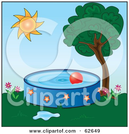 Royalty-Free (RF) Clipart Illustration of a Red Ball Floating In A Pool In A Back Yard by Pams Clipart