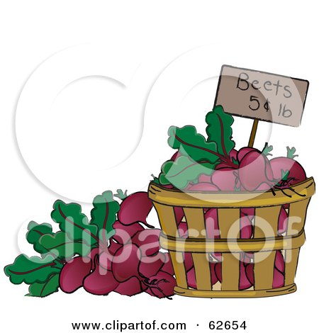 Royalty-Free (RF) Clipart Illustration of a Pricing Tag In A Bushel Of Beets by Pams Clipart