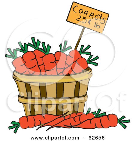 Royalty-Free (RF) Clipart Illustration of a Pricing Tag In A Bushel Of Carrots by Pams Clipart