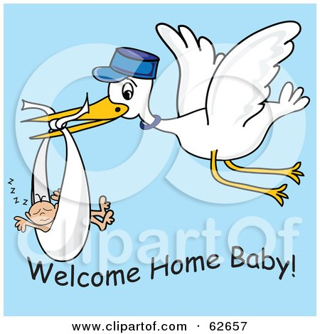 Royalty-Free (RF) Clipart Illustration of a Flying White Stork With Welcome Home Baby Text by Pams Clipart