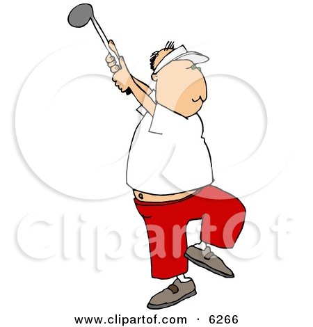 Middle Aged Man Golfing Clipart Picture by djart