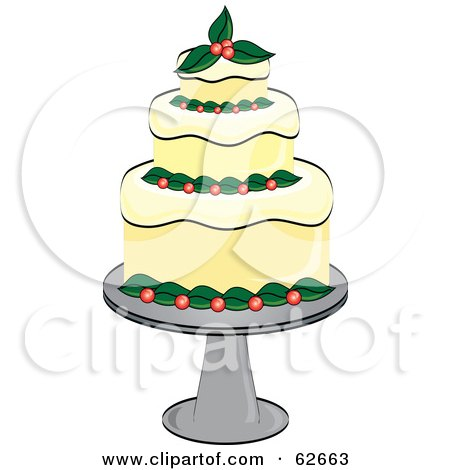 Royalty-Free (RF) Clipart Illustration of a Fancy Three Tiered Christmas Cake by Pams Clipart