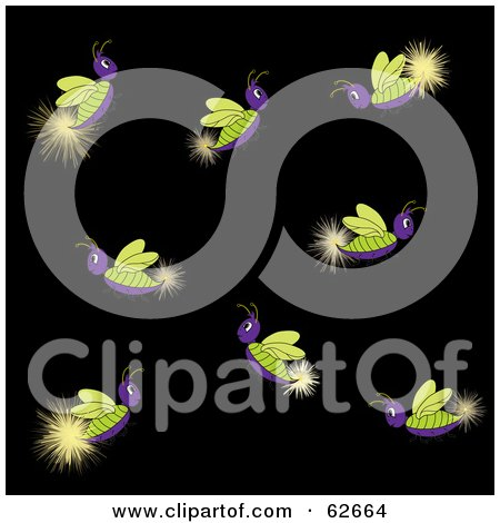 Royalty-Free (RF) Clipart Illustration of a Group Of Glowing Purple And Green Lightning Bugs by Pams Clipart