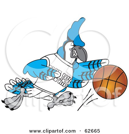 Royalty-Free (RF) Clipart Illustration of a Blue Jay Character School Mascot Dribbling a Basketball by Toons4Biz