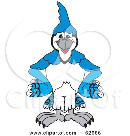 Royalty-Free (RF) Clipart Illustration of a Blue Jay Character School Mascot Standing With His Hands on His Hips by Toons4Biz