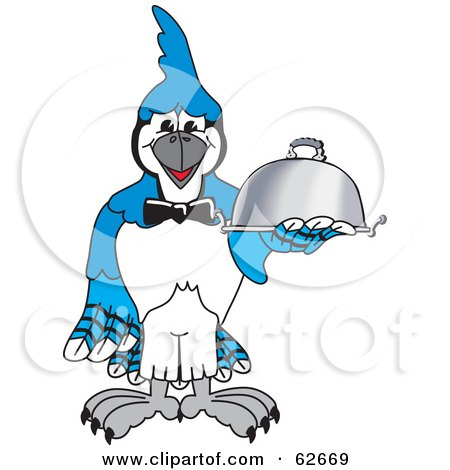 Royalty-Free (RF) Clipart Illustration of a Blue Jay Character School Mascot Serving Food by Toons4Biz