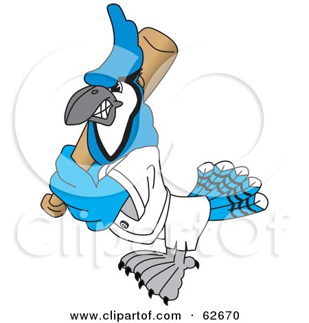 Royalty-Free (RF) Clipart Illustration of a Blue Jay Character School Mascot Playing Baseball by Toons4Biz