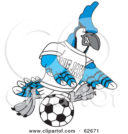 Royalty-Free (RF) Clipart Illustration of a Blue Jay Character School Mascot Kicking a Soccer Ball by Toons4Biz