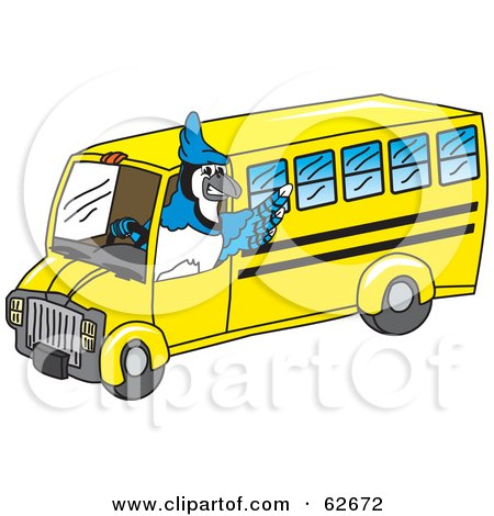 Royalty-Free (RF) Clipart Illustration of a Blue Jay Character School Mascot Driving a Bus by Toons4Biz