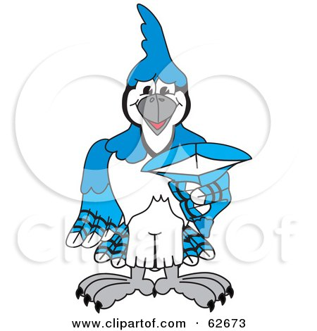 Royalty-Free (RF) Clipart Illustration of a Blue Jay Character School Mascot Pointing Outwards by Toons4Biz