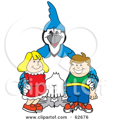 Royalty-Free (RF) Clipart Illustration of a Blue Jay Character School Mascot With Students by Toons4Biz