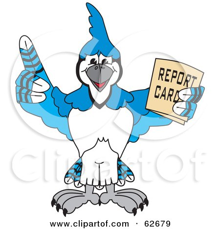 Royalty-Free (RF) Clipart Illustration of a Blue Jay Character School Mascot Holding a Report Card by Toons4Biz