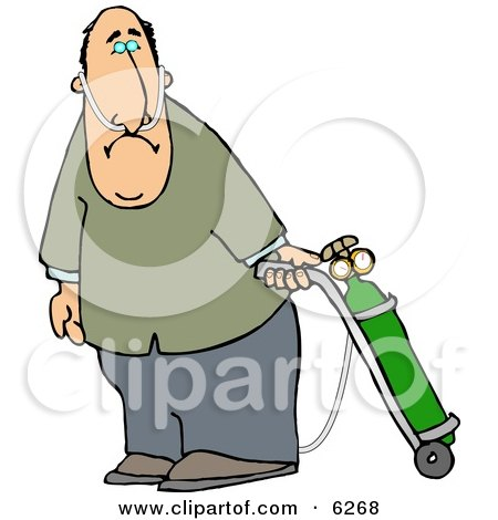 Middle Aged Man on Oxygen Therapy Clipart Picture by djart