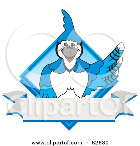 Royalty-Free (RF) Clipart Illustration of a Blue Jay Character School Mascot Blue Diamond Banner Logo by Toons4Biz