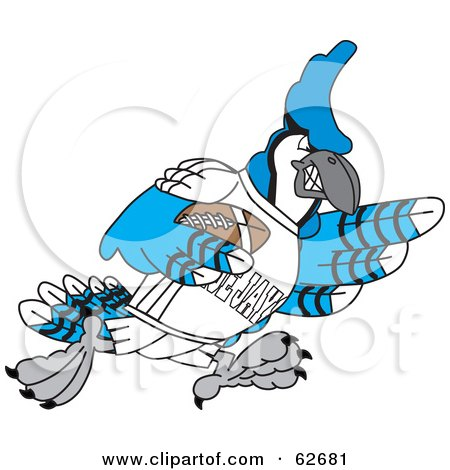 Royalty-Free (RF) Clipart Illustration of a Blue Jay Character School Mascot Playing American Football by Toons4Biz