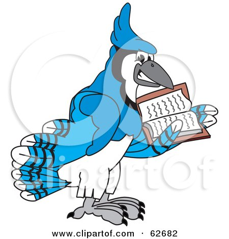 Royalty-Free (RF) Clipart Illustration of a Blue Jay Character School Mascot Reading by Toons4Biz