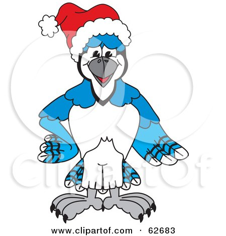 Royalty-Free (RF) Clipart Illustration of a Blue Jay Character School Mascot Wearing a Santa Hat by Toons4Biz