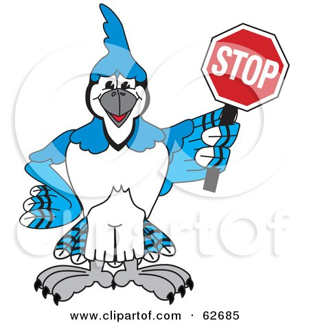 Royalty-Free (RF) Clipart Illustration of a Blue Jay Character School Mascot Holding a Stop Sign by Toons4Biz
