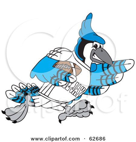 Royalty-Free (RF) Clipart Illustration of a Blue Jay Character School Mascot Playing Football by Toons4Biz