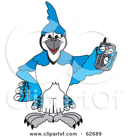Royalty-Free (RF) Clipart Illustration of a Blue Jay Character School Mascot Holding a Cell Phone by Toons4Biz