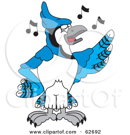 Royalty-Free (RF) Clipart Illustration of a Blue Jay Character School Mascot Singing by Toons4Biz
