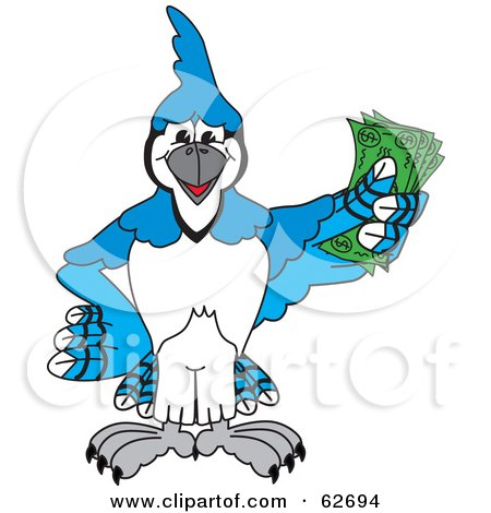 Royalty-Free (RF) Clipart Illustration of a Blue Jay Character School Mascot Holding Cash by Toons4Biz