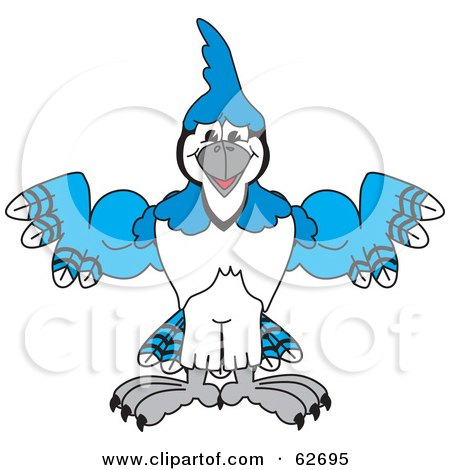 Royalty-Free (RF) Clipart Illustration of a Blue Jay Character School Mascot Flexing by Toons4Biz