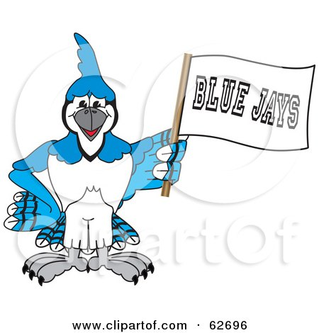 Royalty-Free (RF) Clipart Illustration of a Blue Jay Character School Mascot Waving a Banner by Toons4Biz