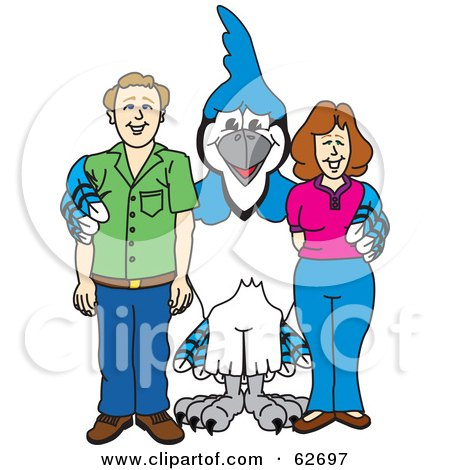 Royalty-Free (RF) Clipart Illustration of a Blue Jay Character School Mascot With Teachers or Parents by Toons4Biz