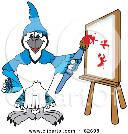 Royalty-Free (RF) Clipart Illustration of a Blue Jay Character School Mascot Painting a Canvas by Toons4Biz