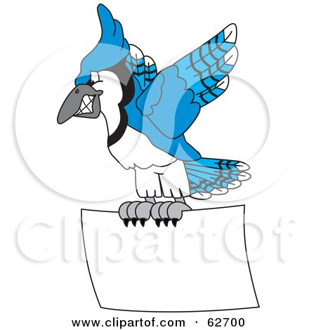 Royalty-Free (RF) Clipart Illustration of a Blue Jay Character School Mascot Flying With a Blank Sign by Toons4Biz