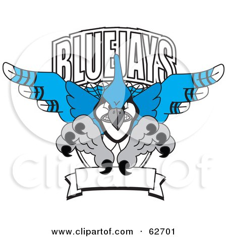 Royalty-Free (RF) Clipart Illustration of a Blue Jays Character School Mascot Logo by Toons4Biz