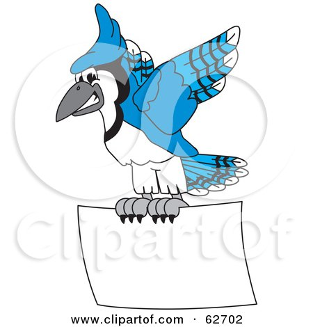 Royalty-Free (RF) Clipart Illustration of a Blue Jay Character School Mascot Flying a Blank Sign by Toons4Biz