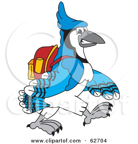 Royalty-Free (RF) Clipart Illustration of a Blue Jay Character School Mascot Walking to School by Toons4Biz