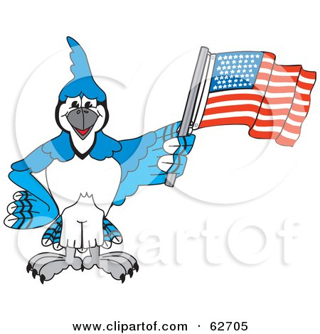 Royalty-Free (RF) Clipart Illustration of a Blue Jay Character School Mascot Waving an American Flag by Toons4Biz