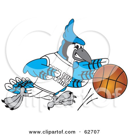 Royalty-Free (RF) Clipart Illustration of a Blue Jay Character School Mascot Playing Basketball by Toons4Biz