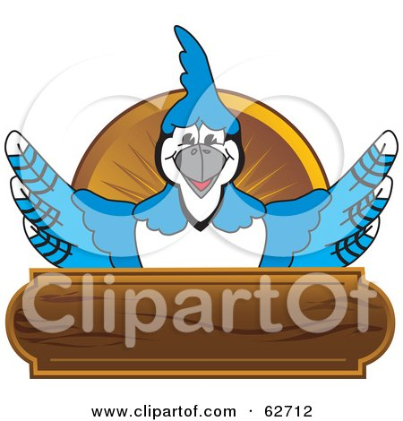 Royalty-Free (RF) Clipart Illustration of a Blue Jay Character School Mascot Wood Plaque Logo by Toons4Biz