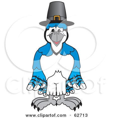 Royalty-Free (RF) Clipart Illustration of a Blue Jay Character School Mascot Wearing a Pilgrim Hat by Toons4Biz