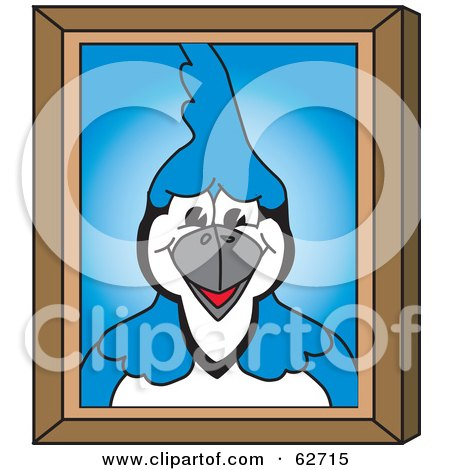 Royalty-Free (RF) Clipart Illustration of a Blue Jay Character School Mascot Portrait by Toons4Biz