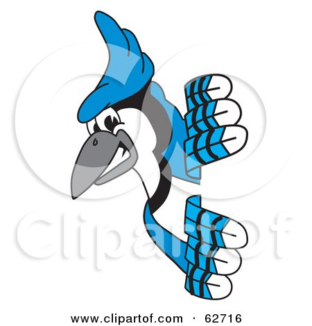 Royalty-Free (RF) Clipart Illustration of a Blue Jay Character School Mascot Looking Around a Sign by Toons4Biz