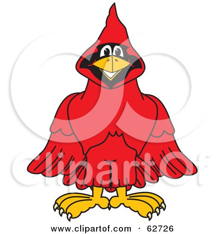 Royalty-Free (RF) Clipart Illustration of a Red Cardinal Character School Mascot by Toons4Biz