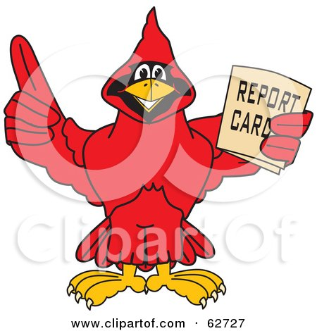 Royalty-Free (RF) Clipart Illustration of a Red Cardinal Character School Mascot Holding a Report Card by Toons4Biz