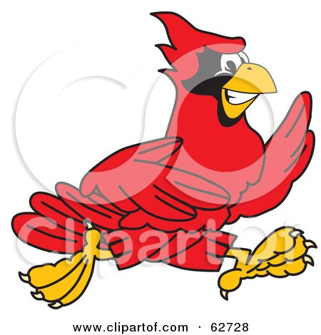 Royalty-Free (RF) Clipart Illustration of a Red Cardinal Character School Mascot Running by Toons4Biz