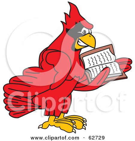 Royalty-Free (RF) Clipart Illustration of a Red Cardinal Character School Mascot Reading by Toons4Biz