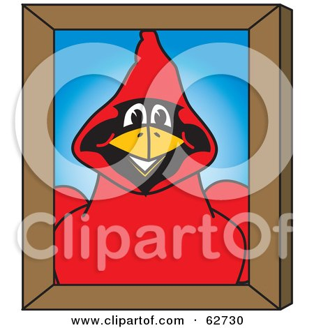 Royalty-Free (RF) Clipart Illustration of a Red Cardinal Character School Mascot Portrait by Toons4Biz