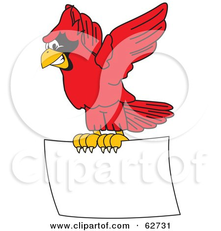 Royalty-Free (RF) Clipart Illustration of a Red Cardinal Character School Mascot Flying a Blank Sign by Toons4Biz